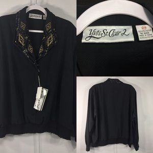 NWT Yves St Clair 24W Top Black Beaded Embroidery